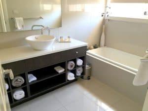 marble floored bathroom