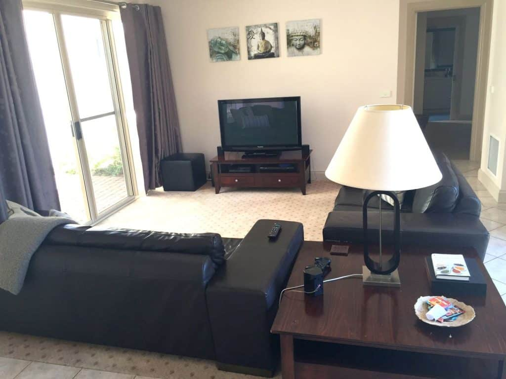 tv with couches in accommodation