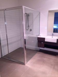 clean marble floored bathroom