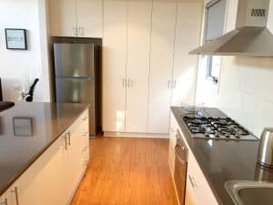 grey oven and fridge